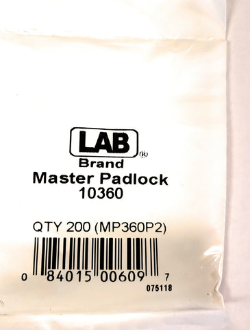 LAB 10360 Master Padlock #0 Bottom Pins 200 Pack