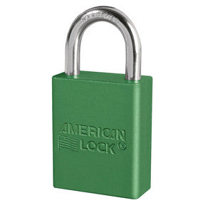 "American A1105GRN Green 1 1/2"" Wide Aluminum Safety Padlock"