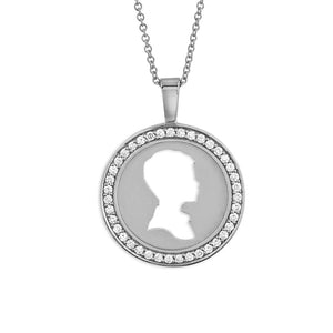 18K WHITE GOLD DIAMOND COIN