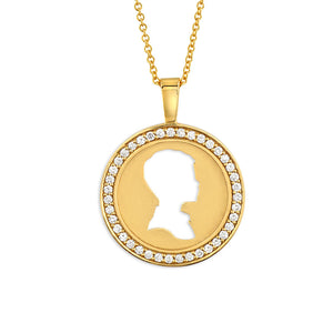 18K YELLOW GOLD DIAMOND COIN