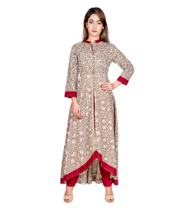 100% Cotton Long Kurti With Pants