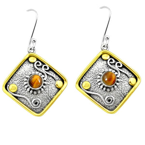 Natural Brown Tiger's Eye 925 Silver Two Tone Dangle Earrings