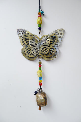 Triple Butterfly Beads & Bell Chime