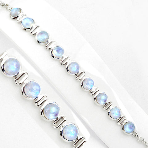 Natural Rainbow Moonstone 925 Sterling Silver Tennis Bracelet