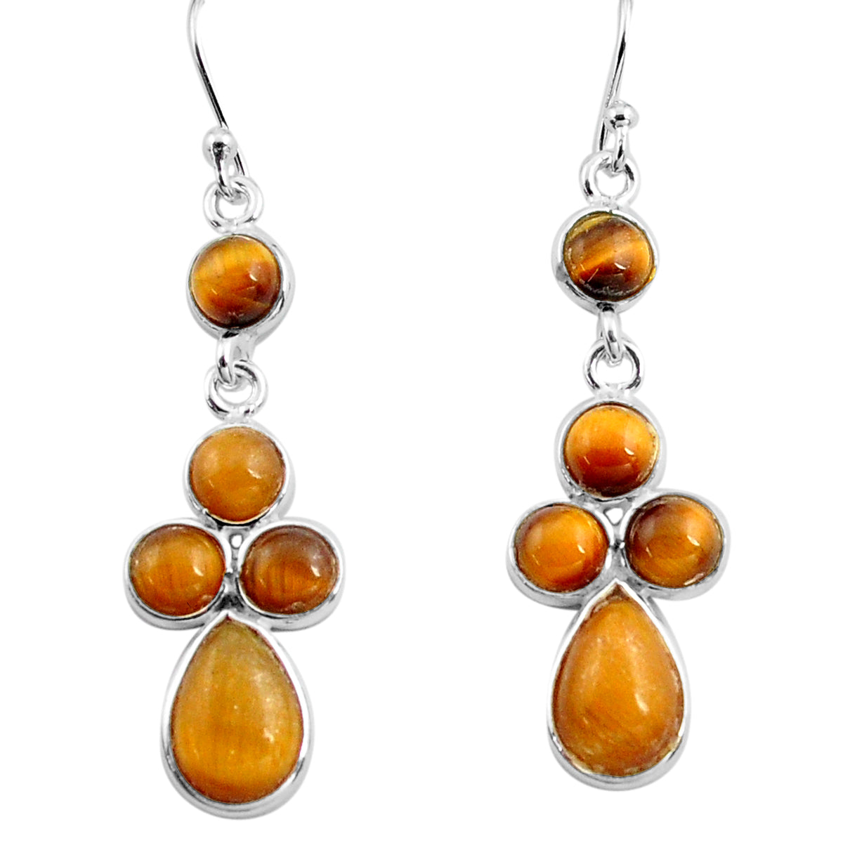 Natural Brown Tiger's Eye 925 Sterling Silver Dangle Earrings