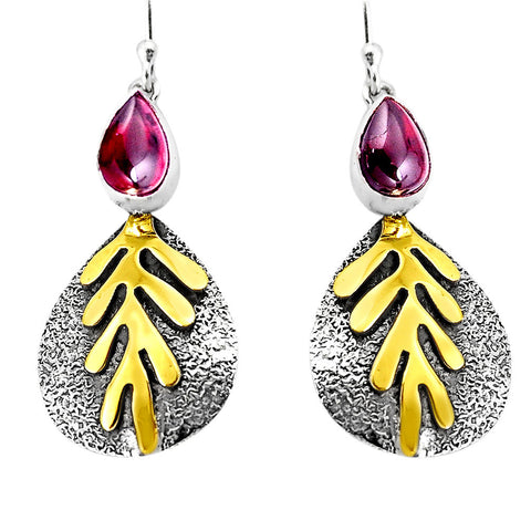 Natural Red Garnet 925 Sterling Silver 14K Gold Dangle Earrings