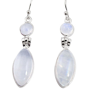 18.39 cts Natural Rainbow Moonstone 925 Sterling Silver Dangle Earrings