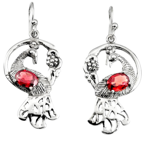 Peacock Natural Red Garnet 925 Sterling Silver Dangle Earring