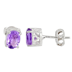 Natural Purple Amethyst 925 Sterling Silver Stud Earrings