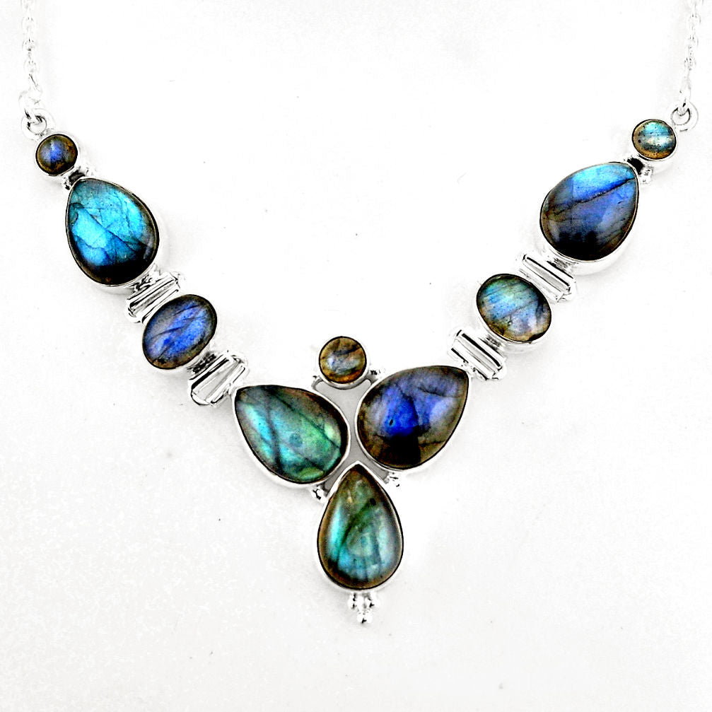 33.12 cts Natural Blue Labradorite 925 Sterling Silver Necklace