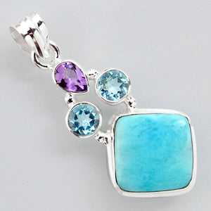 13.79 cts Natural Blue Larimar Amethyst Topaz 925 Sterling Silver Pendant