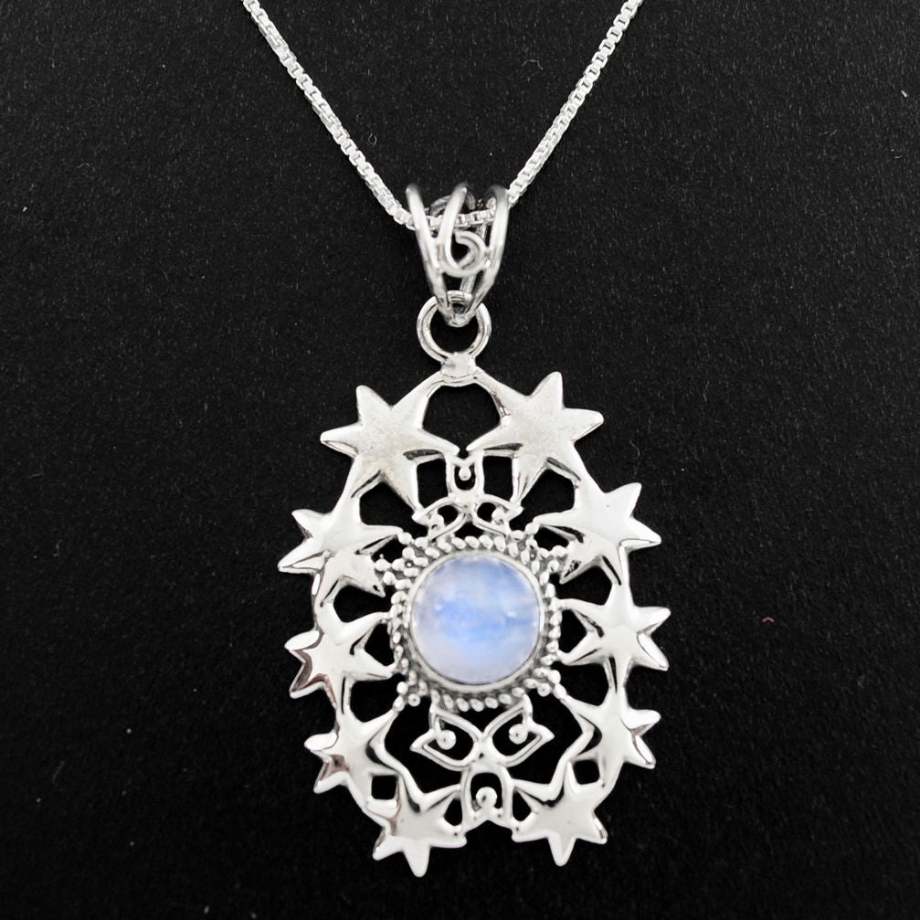 925 Sterling Silver 3.44 cts Natural Rainbow Moonstone 18' Chain Pendant