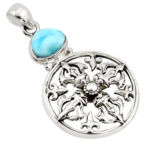 4.21 cts Natural Blue Larimar 925 Sterling Silver Pendant