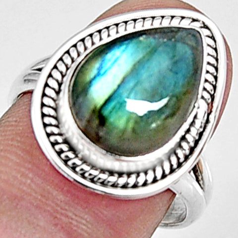 6.83 cts Natural Blue Labradorite 925 Silver Solitaire Ring Size 7.5