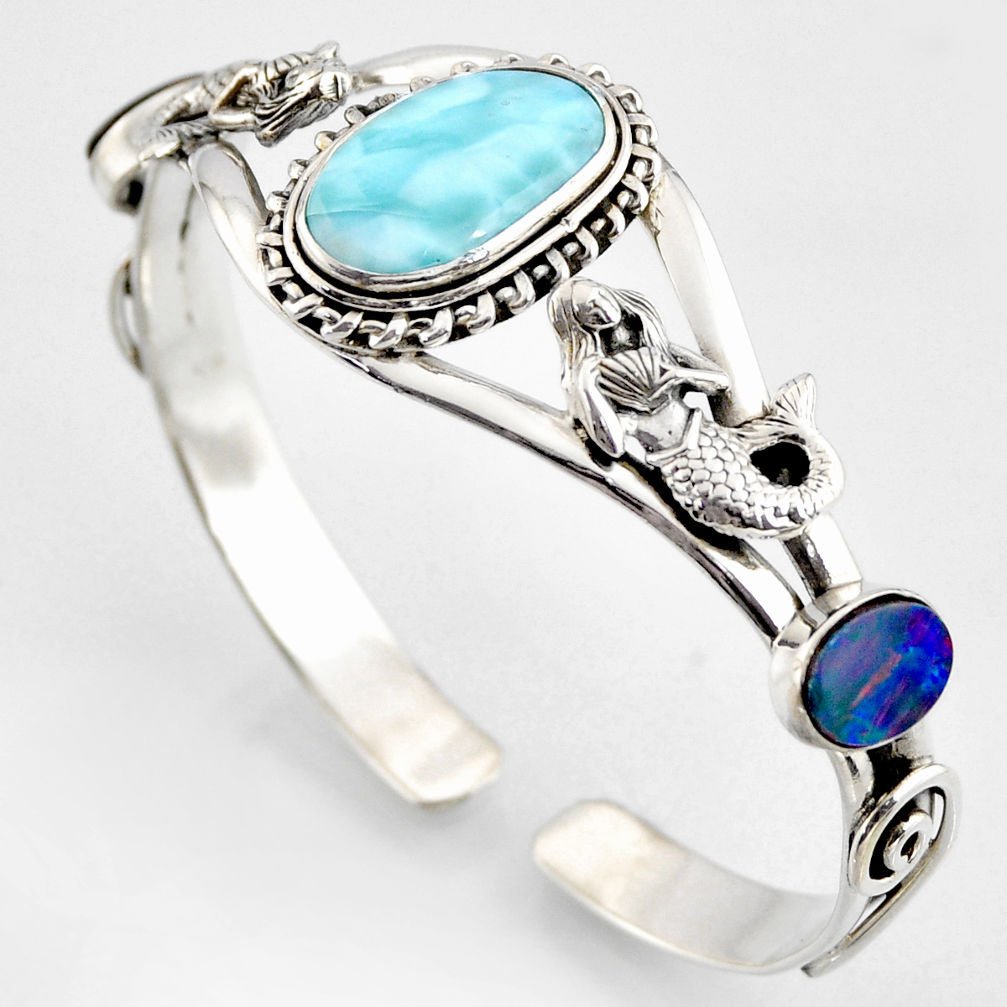15.18 cts Natural Blue Larimar Fairy Mermaid Adjustable Bangle