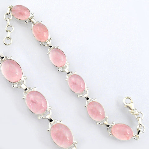 40.17 cts Natural Pink Rose Quartz Sterling Silver 925 Tennis Bracelet