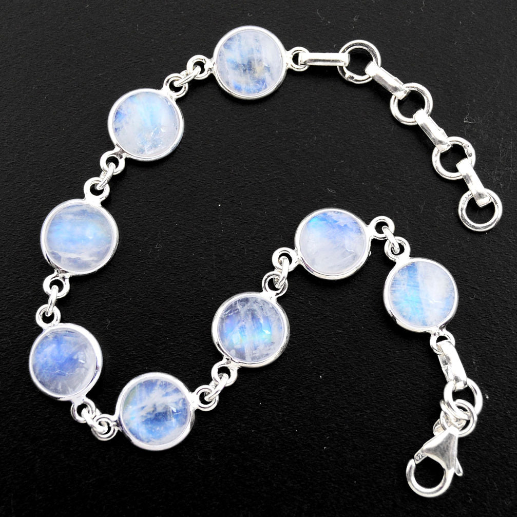 26.54 cts Natural Rainbow Moonstone Sterling Silver 925 Tennis Bracelet