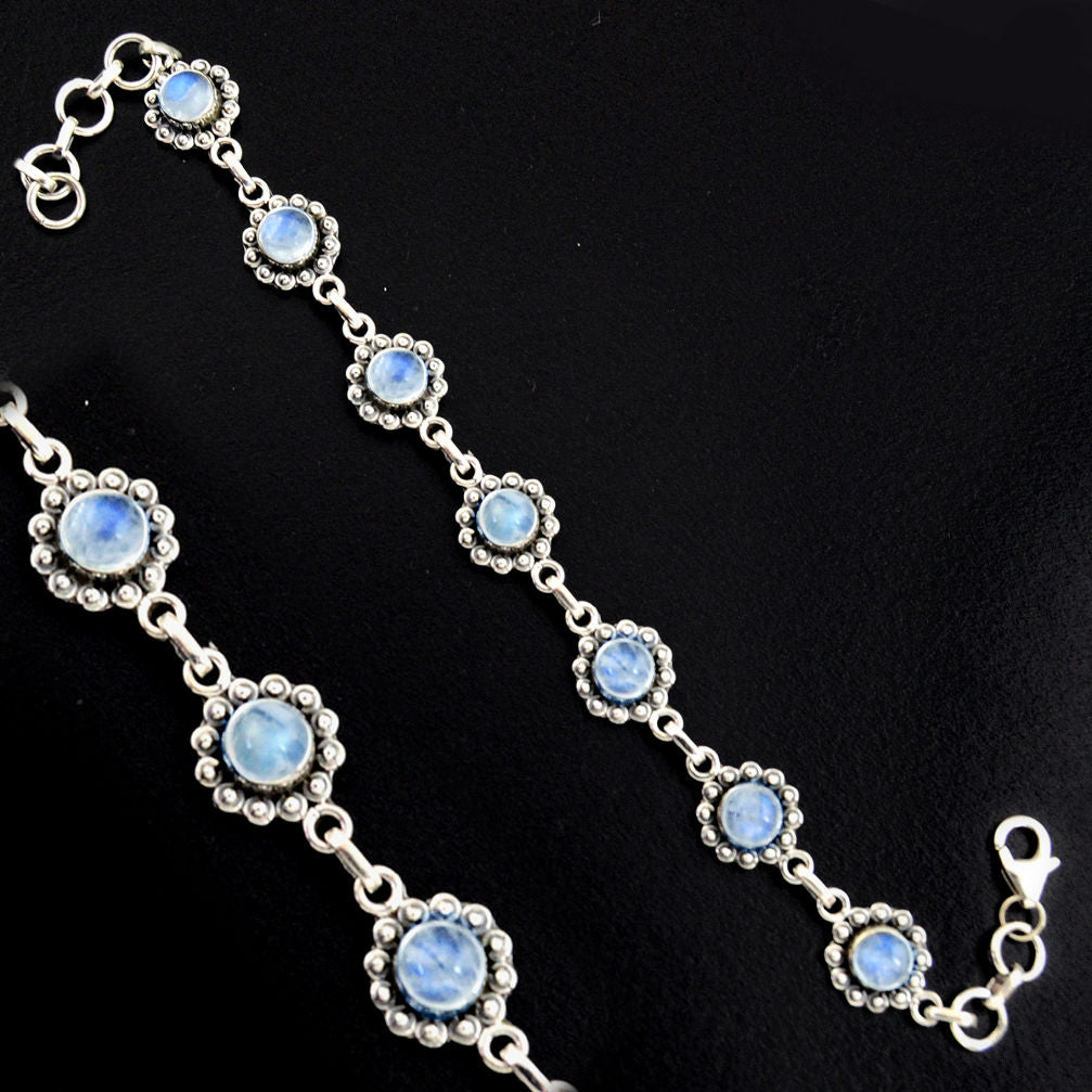 9.52 cts Natural Rainbow Moonstone Sterling Silver 925 Tennis Bracelet