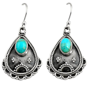 3.19 cts Blue Arizona Mohave Turquoise Sterling Silver 925 Dangle Earrings