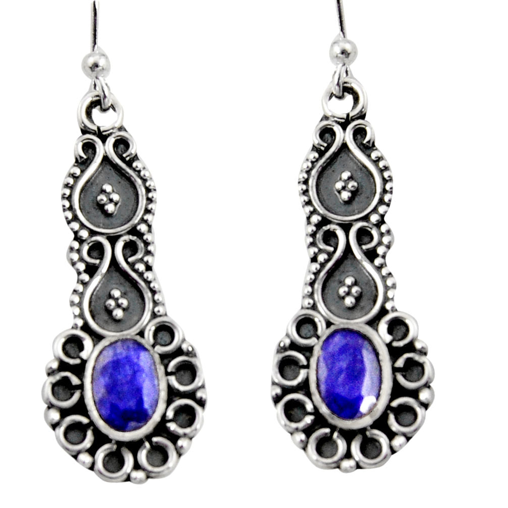 3.11 cts Natural Blue Sapphire Sterling Silver 925 Dangle Earrings