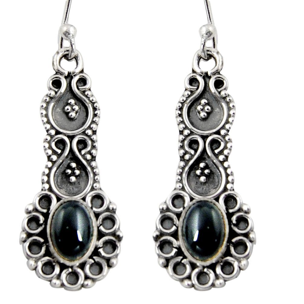 3.11 cts Natural Black Onyx Sterling Silver 925 Dangle Earrings