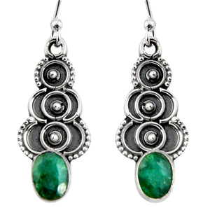 3.29 cts Natural Green Emerald Dangle Earrings