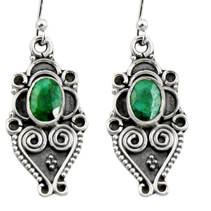 3.50 cts Natural Green Emerald Snake Earrings