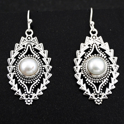 Natural White Pearl 925 Sterling Silver Dangle Earrings