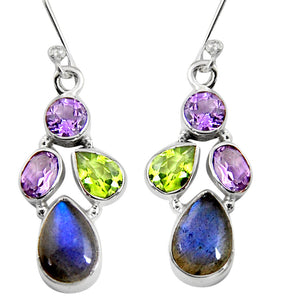 11.23 cts Natural Blue Labradorite Amethyst Sterling Silver 925 Dangle Earrings