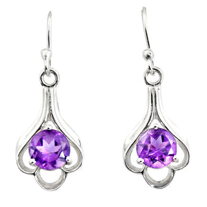 4.89 cts Natural Purple Amethyst Dangle Earrings