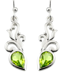3.87 cts Natural Green Peridot Sterling Silver 925 Dangle Earrings