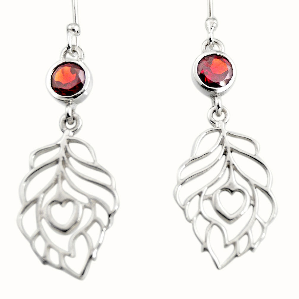 1.92 cts Natural Red Garnet Sterling Silver 925 Dangle Feather Charm Earrings