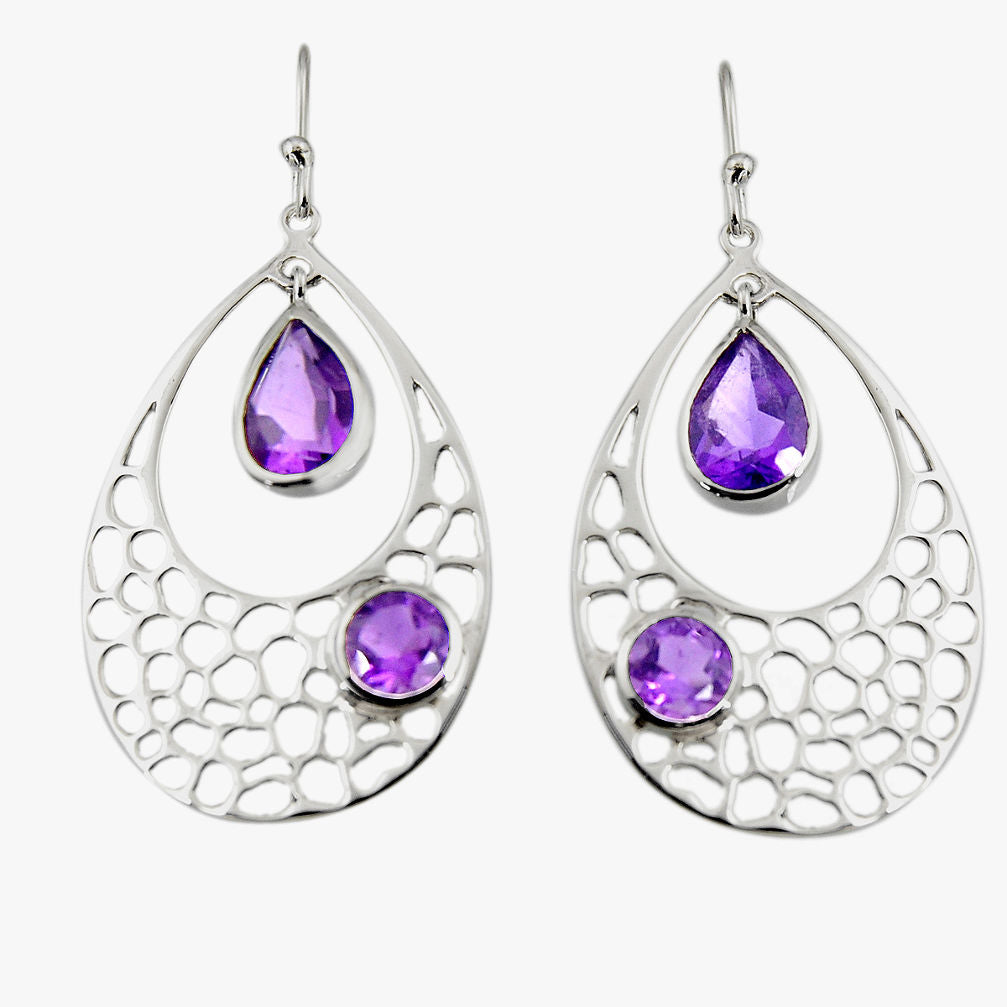 7.13 cts Natural Purple Amethyst Sterling Silver 925 Dangle Earrings