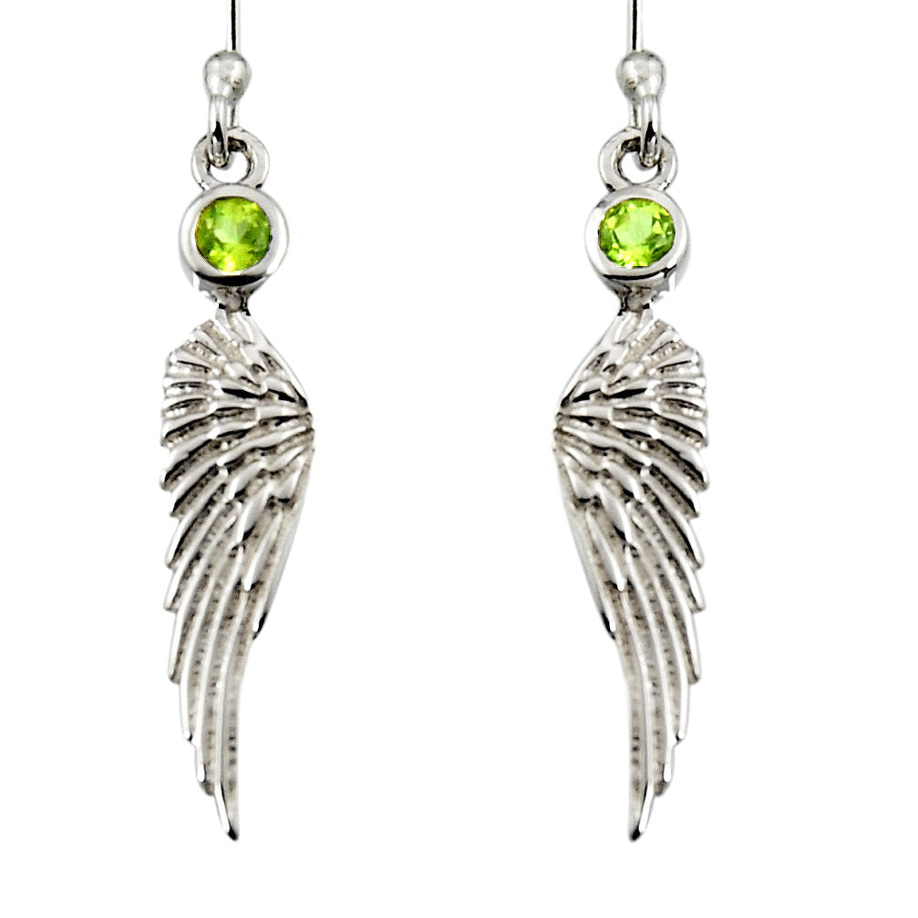 0.57 cts Natural Green Peridot Sterling Silver 925 Feather Charm Earrings
