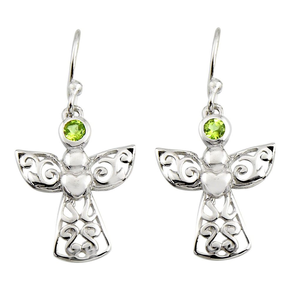 0.74 cts Natural Green Peridot Sterling Silver 925 Dangle Earrings