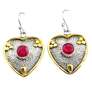 2.20 cts Victorian Natural Red Ruby Two Tone Heart Earrings