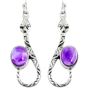 5.52 cts Natural Purple Amethyst Snake Earrings
