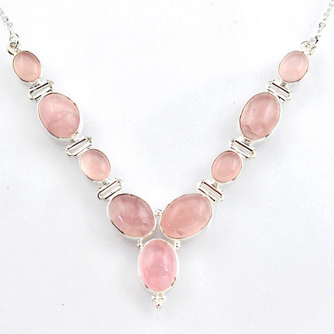 Natural Pink Rose Quartz 925 Sterling Silver Necklace