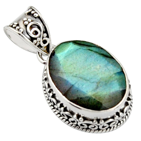 13.34 cts Natural Blue Labradorite Sterling Silver 925 Pendant