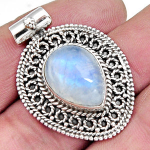 11.22 cts Natural Rainbow Moonstone Pear Pendant