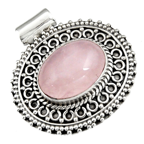 10.33 cts Natural Pink Rose Quartz Sterling Silver 925 Pendant