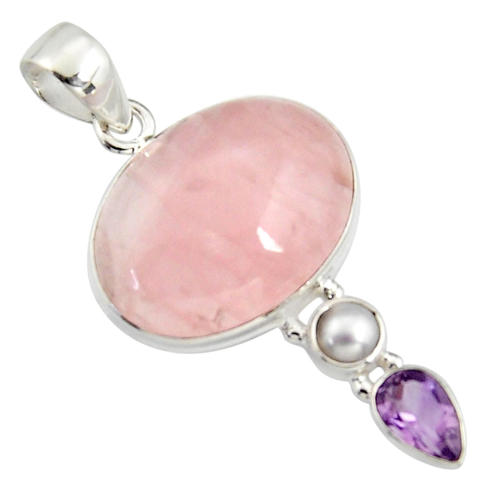 18.15 cts Natural Pink Rose Quartz Amethyst 925 Sterling Silver Pendant