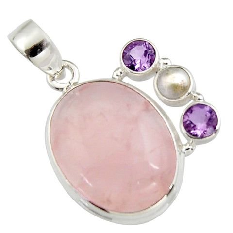 17.69 cts Natural Pink Rose Quartz Amethyst Sterling Silver 925 Pendant