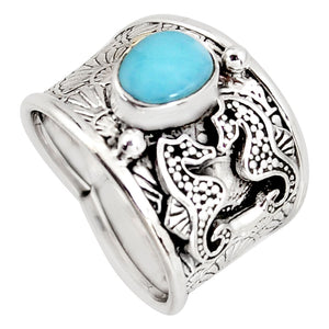 Natural Blue Larimar 925 Sterling Silver Seahorse Ring Size 8