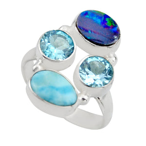 Natural Blue Larimar Topaz Ring Jewelry Size 6