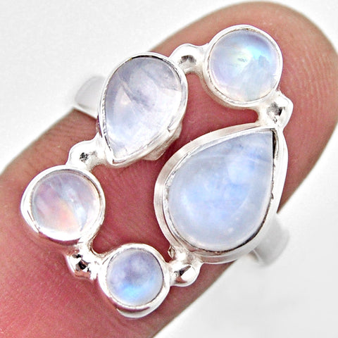 Natural Rainbow Moonstone 925 Sterling Silver Ring Size 8