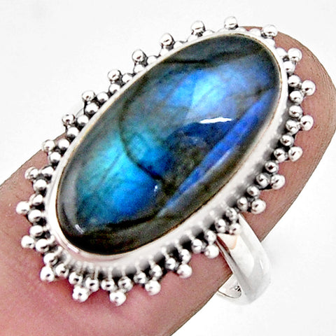 10.64 cts Natural Blue Labradorite Sterling Silver 925 Solitaire Ring Size 7.5