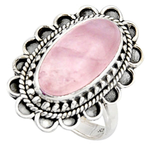 7.35 cts Natural Pink Rose Quartz Sterling Silver 925 Solitaire Ring Size 7