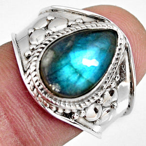 4.46 cts Natural Blue Labradorite Solitaire Ring Size 7