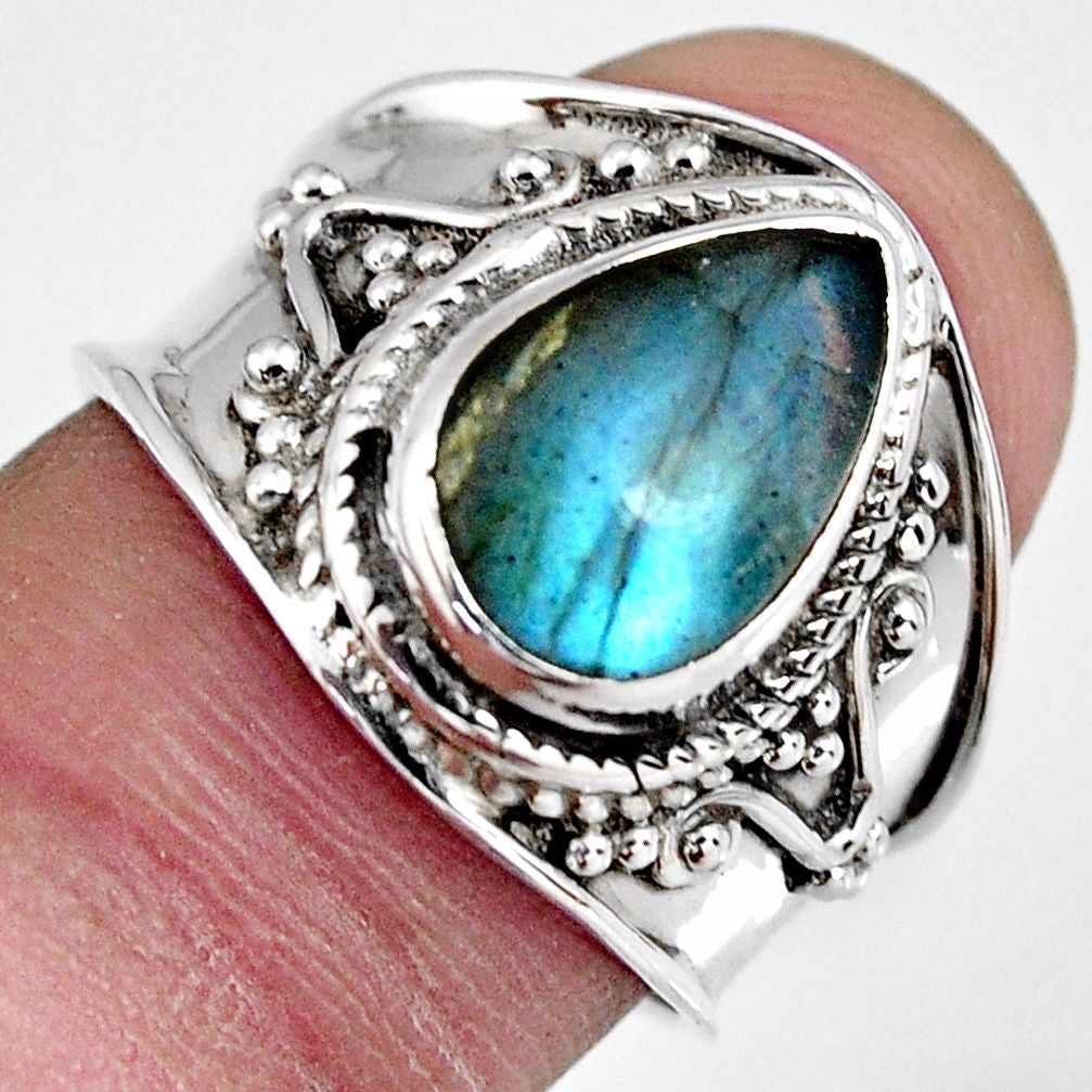 4.74 cts Natural Blue Labradorite Sterling Silver 925 Ring Size 7